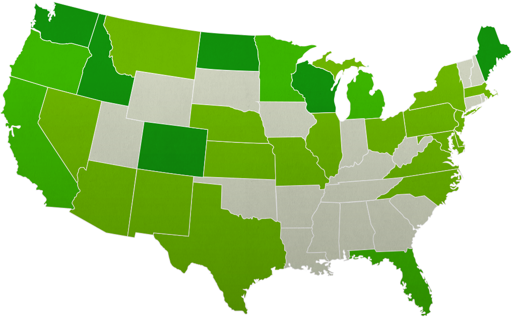 Us States By Population Map Globalinterco - Map of us dentists by state
